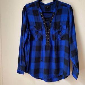 Express Blue Plaid Lace-Up Neck Shirt